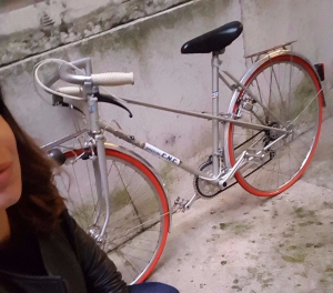 red wheeled bicycle
